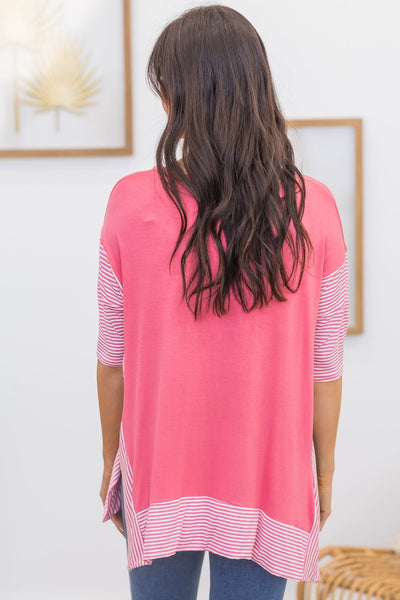 Better Times Colorblock Top In Coral - Filly Flair