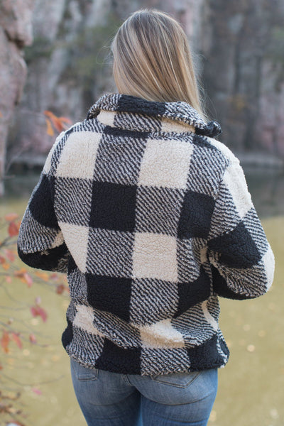 Something About You Plaid Fleece Zip Up Jacket in Cream - Filly Flair