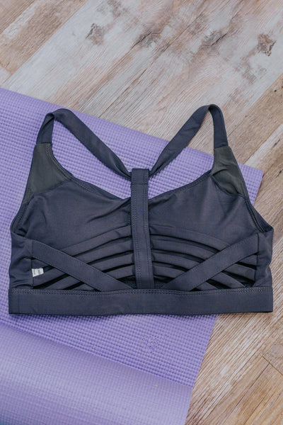 Tomorrow's Work Out Criss Cross Detail Back Sports Bra in Charcoal - Filly Flair