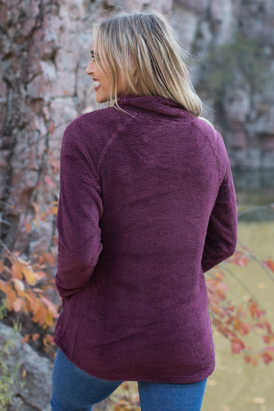 Never A Dull Moment With You Cross Neck Pull Over Sweater in Burgundy - Filly Flair