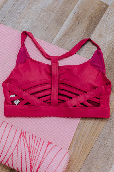 Tomorrow's Work Out Criss Cross Detail Back Sports Bra in Coral - Filly Flair