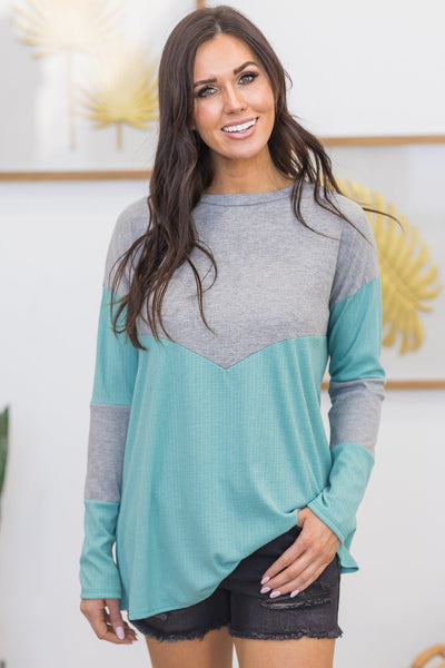 Brave And Honest Chevron Top in Heather Grey - Filly Flair