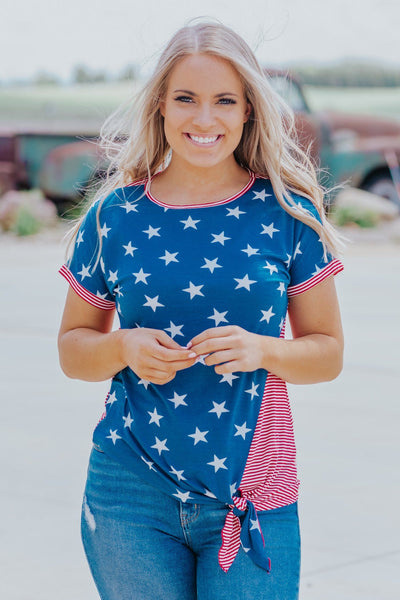 Feeling Free Stars and Stripes Detail Short Sleeve Top in Blue - Filly Flair