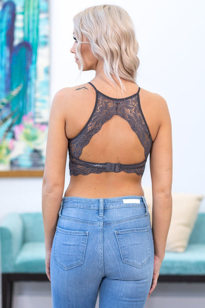 Love Wins High Neck Keyhole Floral Lace Bralette in Grey - Filly Flair