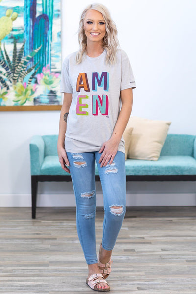 'AMEN' Crew Neck Graphic Tee in Grey - Filly Flair