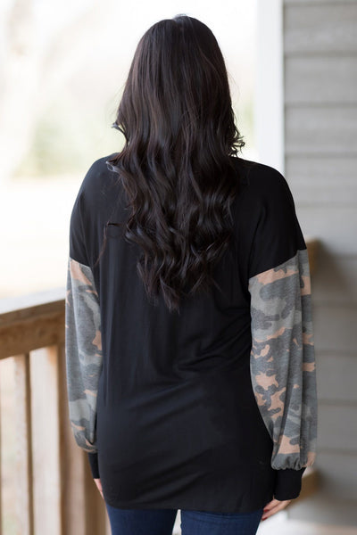 Love Like Mine With Camouflage Long Sleeve Top In Black - Filly Flair