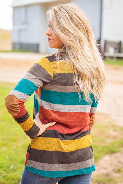 Our Fall Favorite Striped Elbow Patch Cardigan In Rust - Filly Flair