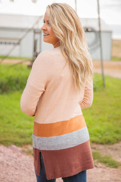 Pumpkin Picking Color Block Long Sleeve Pockets Open Front Cardigan in Beige - Filly Flair