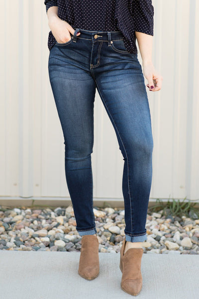 Keileen Kan Can Dark Wash Medium Rise Skinny Jeans - Filly Flair