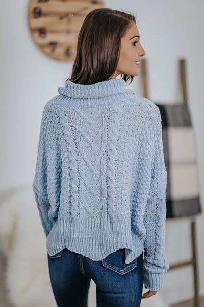 Basic Cable Knit Turtle Neck Scalloped Hem Crop Long Sleeve Sweater in Light Blue - Filly Flair