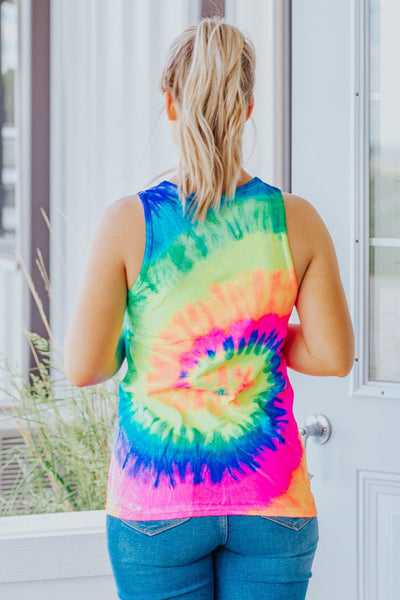 Don't Try to Hide Tie Dye Tank in Neon Rainbow - Filly Flair