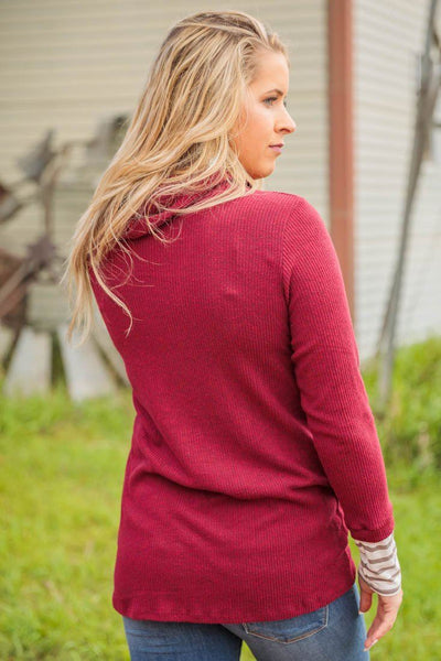 A Thousand Words Long Sleeve Cowl Striped Top in Burgundy - Filly Flair