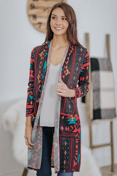 Around And Around Aztec Pockets Long Sleeve Open Front Cardigan in Red - Filly Flair