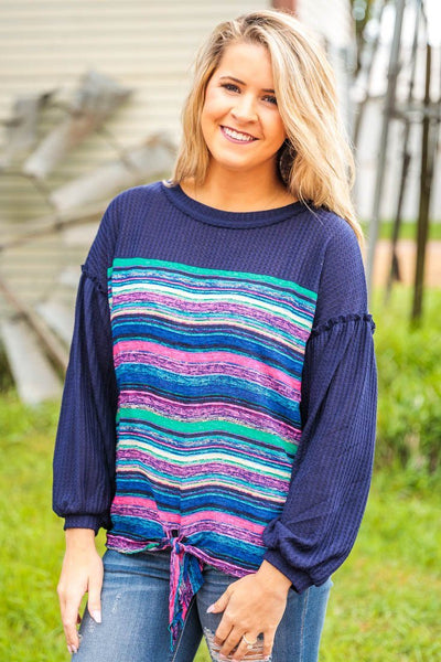Mixed Together Waffle Knit Striped Long Sleeve Top in Navy - Filly Flair