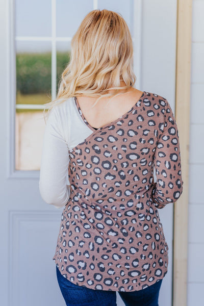 Greatness Is Inside Leopard Contrast V Neck Top in Mocha and Ivory - Filly Flair