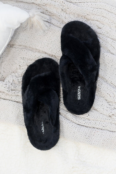 What Is Life Faux Fur Criss Cross Slippers In Black - Filly Flair