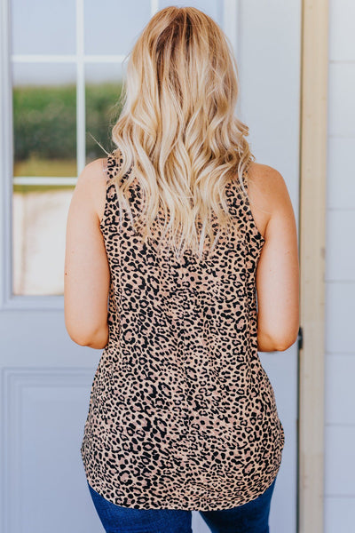 No Chance Leopard Print Tank In Brown - Filly Flair