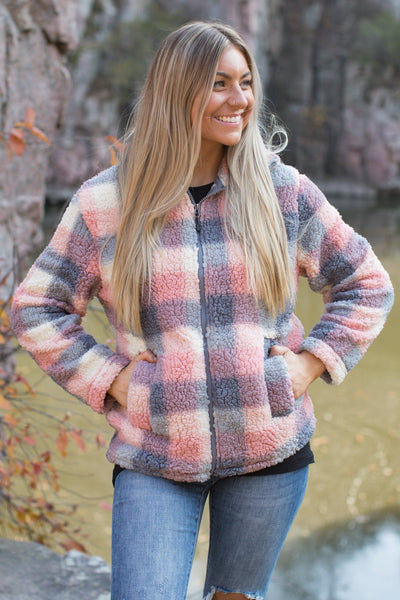 Cozy Living Plaid Zip Up in Pink - Filly Flair