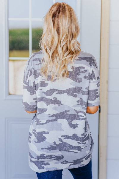 I'll Keep You Camo Print Short Sleeve Top in Grey - Filly Flair