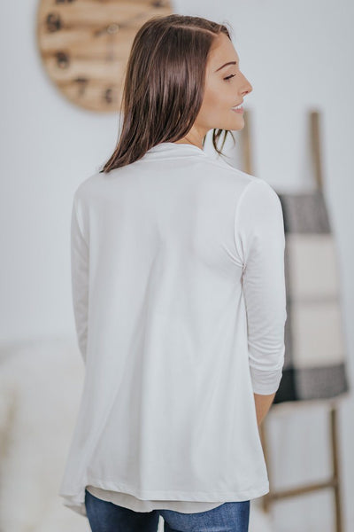 *DEALS* Your Sunday Best 3/4 Sleeve Draped Cardigan in White - Filly Flair