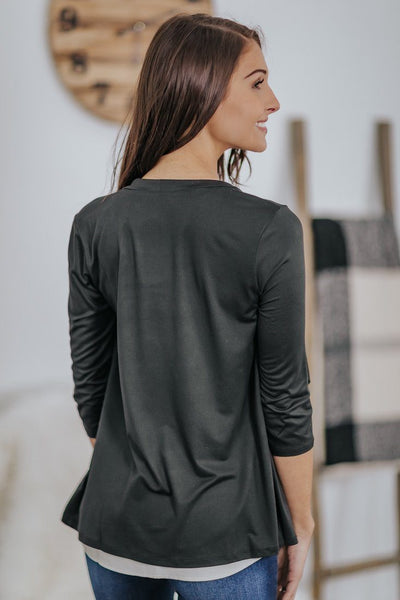 *DEALS*: Your Sunday Best 3/4 Sleeve Draped Cardigan in Black - Filly Flair