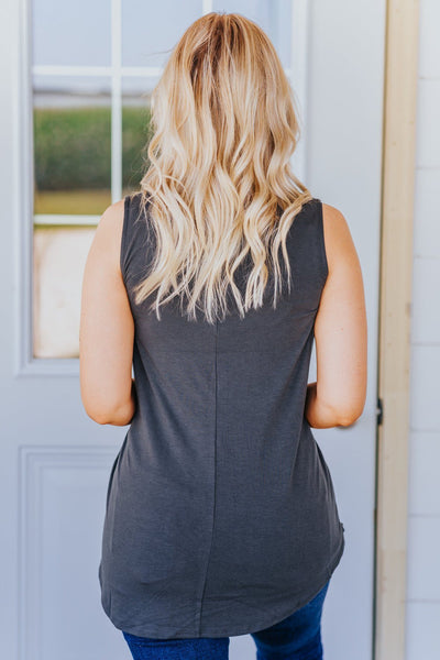 First In Line Sleeveless Leopard Pocket Tank Top in Ash Grey - Filly Flair