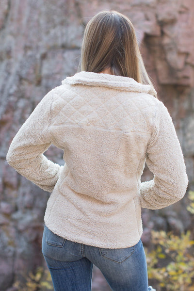 Middle Of Nowhere Zip Up Jacket in Natural - Filly Flair