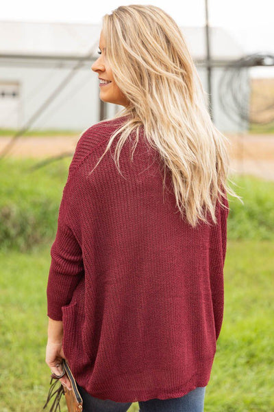 Falling to Pieces Cardigan Sweater in Burgundy - Filly Flair