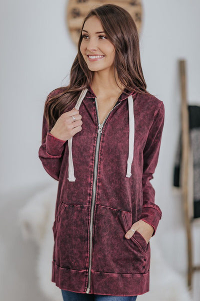 Into Nightfall Mineral Wash Long Sleeve Zip Up Hoodie in Dark Burgundy - Filly Flair