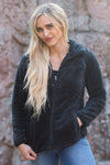 Middle Of Nowhere Zip Up Jacket in Black - Filly Flair