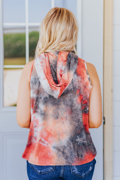 Everyday People Tie Dye Top in Coral - Filly Flair