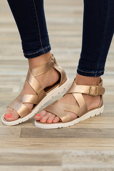 Always a Favorite Strap Sandal in Rose Gold - Filly Flair