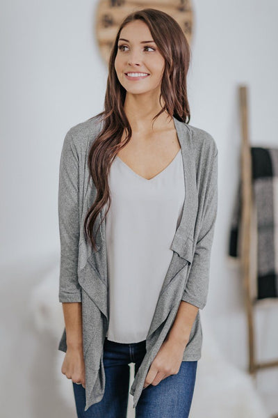 *DEALS*: Your Sunday Best 3/4 Sleeve Draped Cardigan in Heather Grey - Filly Flair