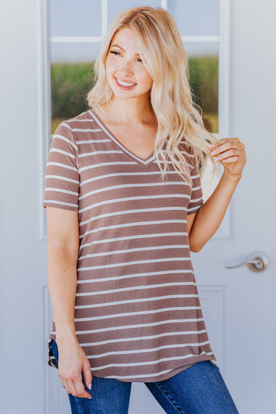 Everyday Running V Neck Striped Short Sleeve Top in Mocha - Filly Flair