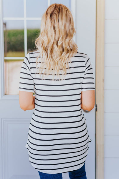 Everyday Running V Neck Striped Short Sleeve Top in Ivory - Filly Flair