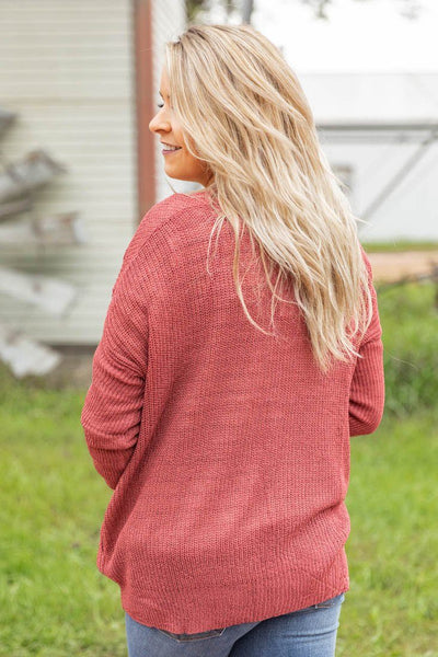 Falling to Pieces Cardigan Sweater in Marsala - Filly Flair