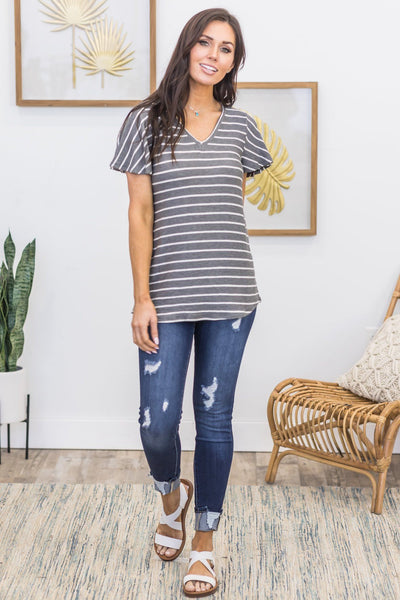 Carnival Time Striped Top In Charcoal - Filly Flair