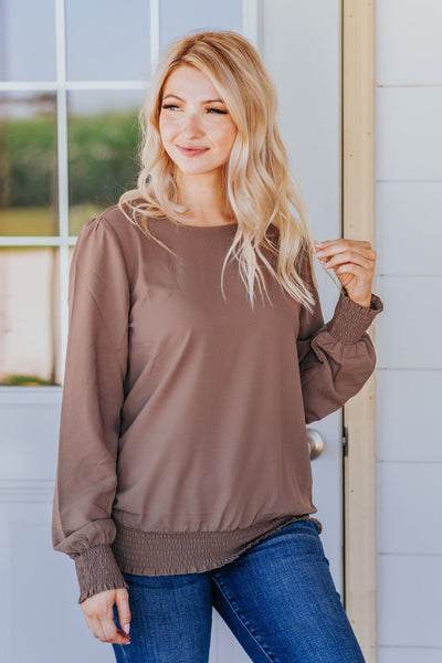Sunday Morning Vibes Smocked Hem Long Sleeve Top in Mocha - Filly Flair