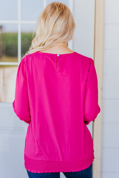 Sunday Morning Vibes Smocked Hem Long Sleeve Top in Hot Pink - Filly Flair