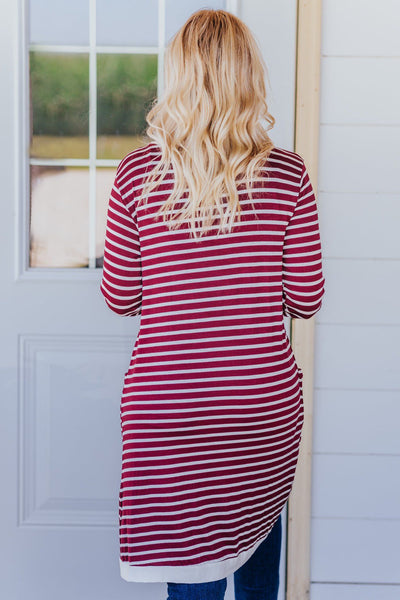 Touch Of Class Striped Long Sleeve Cardigan in Burgundy - Filly Flair