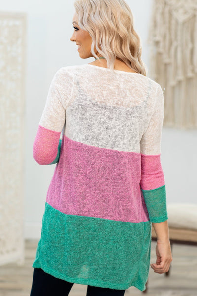 Lay One On Me 3/4 Sleeve Color Block Cardigan in Pink White Turquoise - Filly Flair