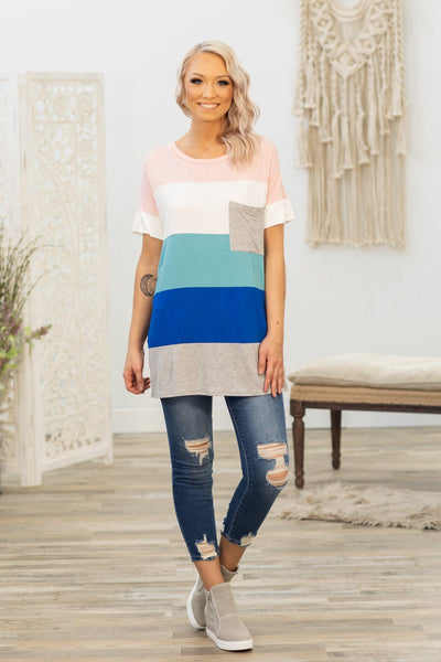 Love You Like I Do Short Sleeve Color Block Top in Pink Blue Grey - Filly Flair
