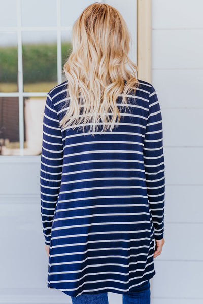 Stronger Than You Know Striped Long Sleeve Cardigan in Navy - Filly Flair