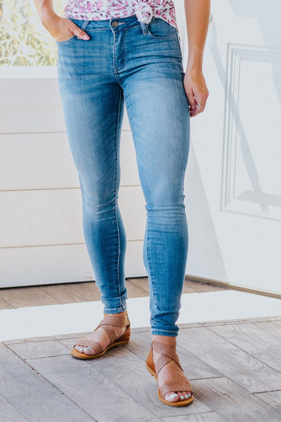 Charli Cello Mid Rise Skinny Ankle Rolled Cuff Jeans - Filly Flair
