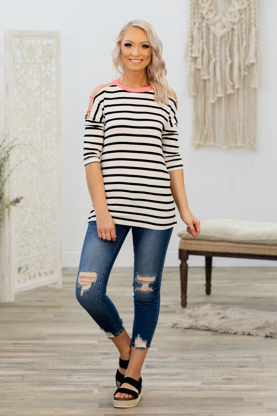 93a8a25445db8 Doing Something Right Striped Pink Cold Shoulder Top in Black Ivory