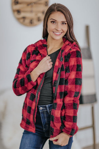 Change The World Plaid Front Pockets Zip Up Long Sleeve Hoodie in Red - Filly Flair
