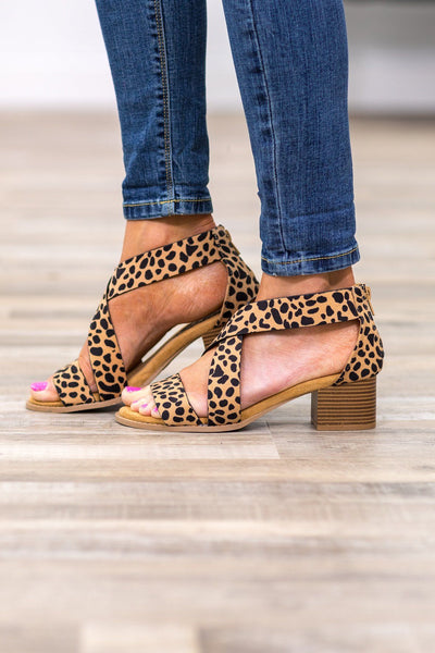On a Whim Strappy Cheetah Heel in Tan - Filly Flair