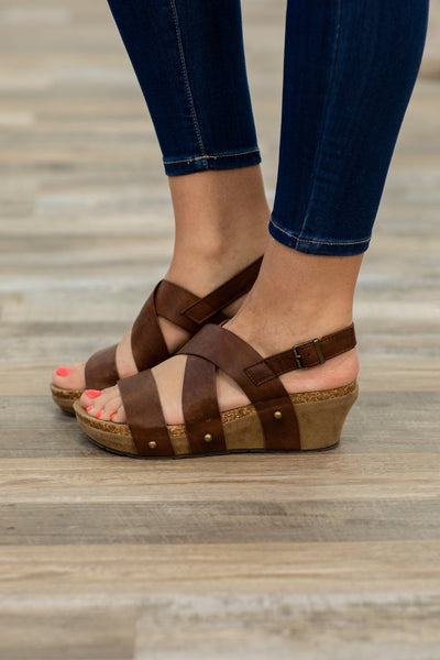 #ST4# From The Outside Studded Wedge Sandal in Whiskey - Filly Flair