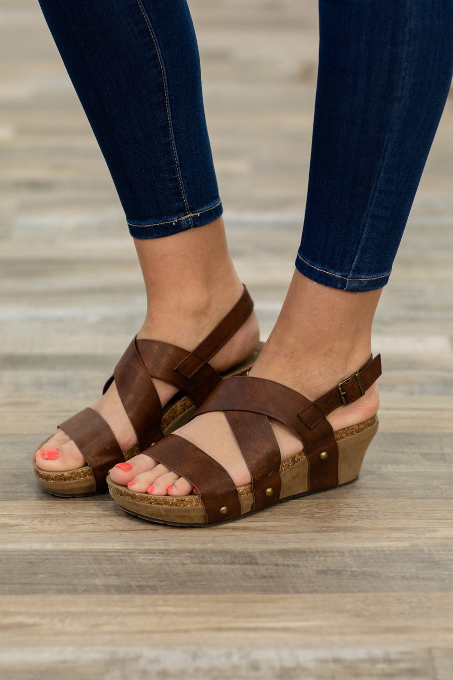 7addcb14d From The Outside Studded Wedge Sandal in Whiskey