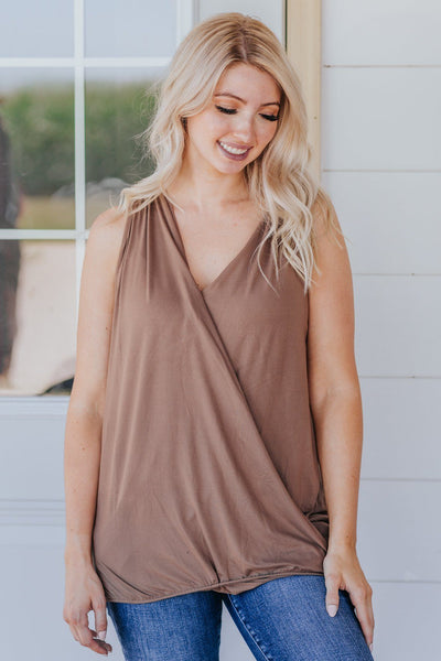 Dance With Me Surplice Halter Sleeveless Tank Top in Mocha - Filly Flair